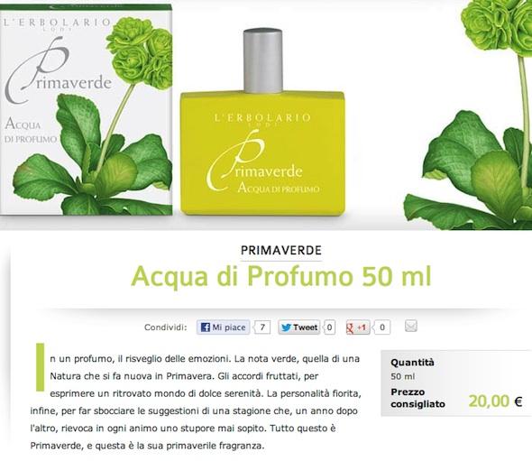 Acqua di Profumo 50 ml   Primaverde   L Erbolario