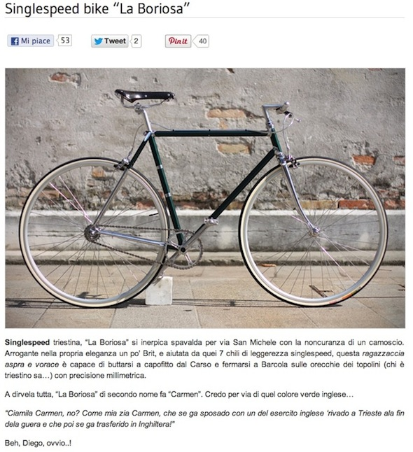 Singlespeed bike La Boriosa Biascagne Cicli
