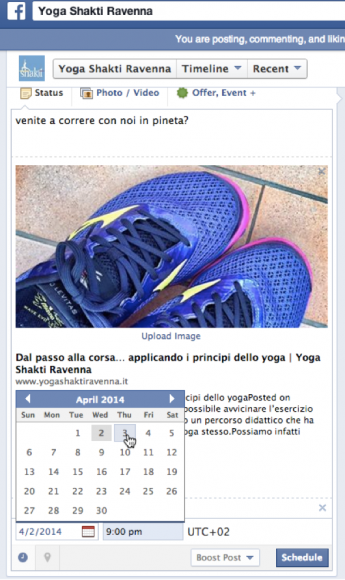 Impostare data e ora di pubblicazione di un post all'interno di una pagina Facebook.