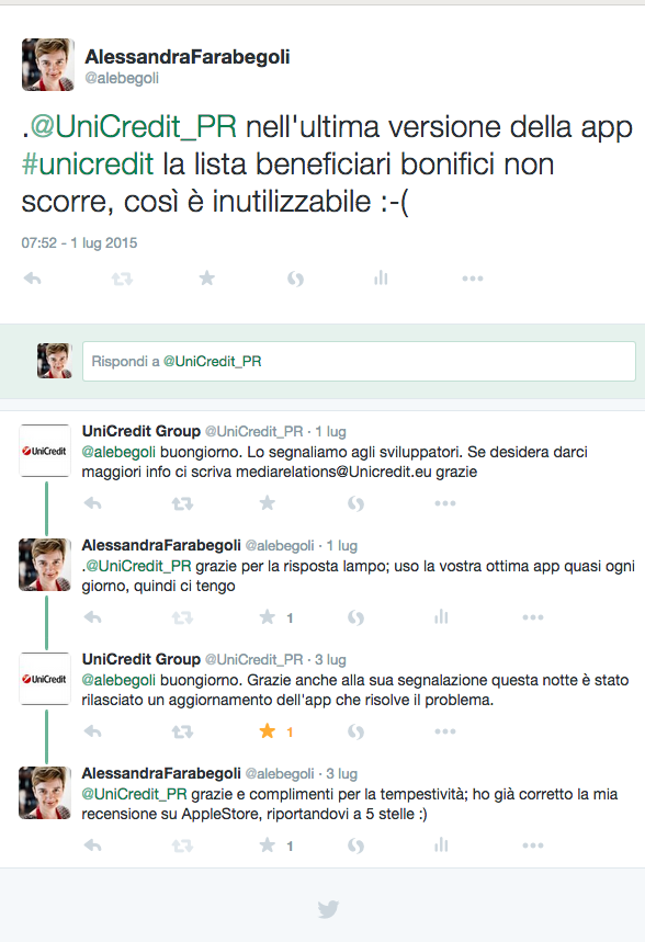AlessandraFarabegoli su Twitter . UniCredit_PR nell ultima versione della app unicredit la lista beneficiari bonifici non scorre così è inutilizzabile