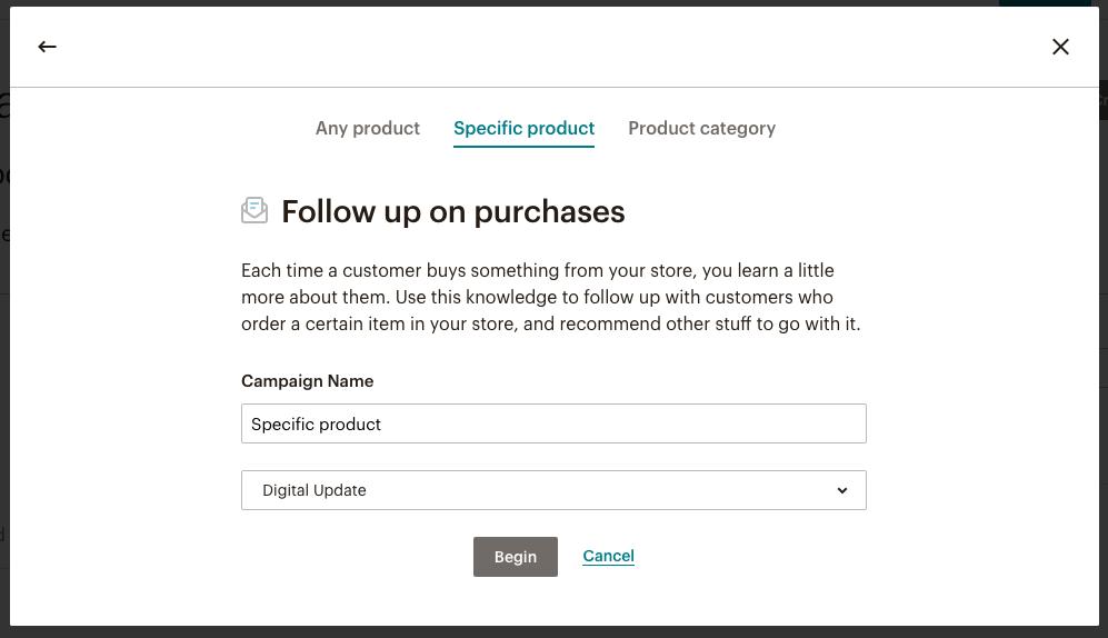 Automazione di follow-up legata all'acquisto di un prodotto specifico