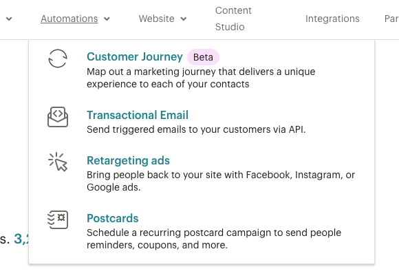Customer Journey nel menu Mailchimp