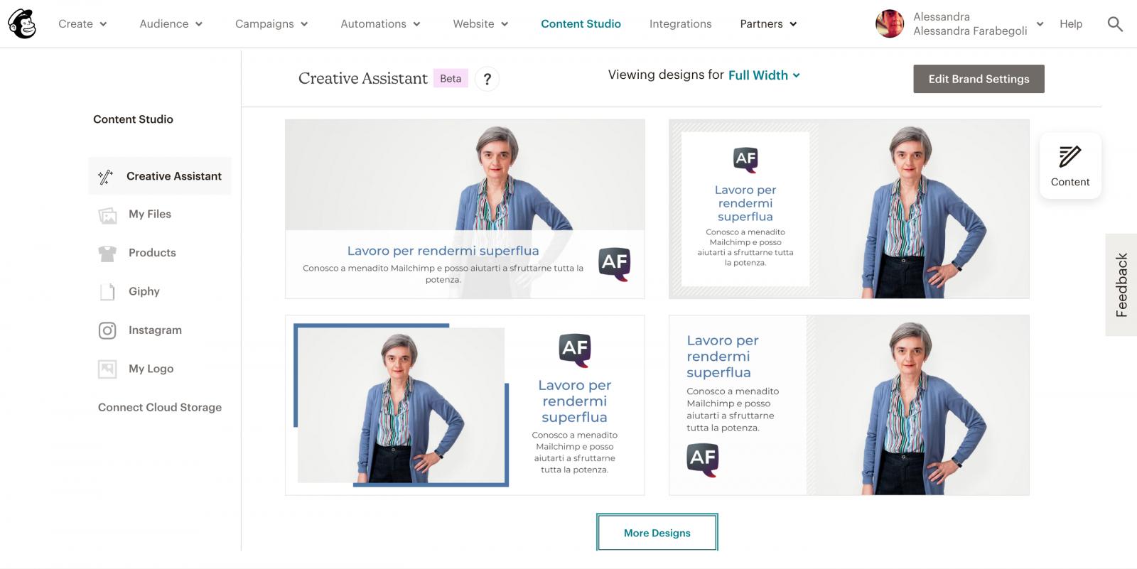Esempi di grafiche create dal Creative Assistant